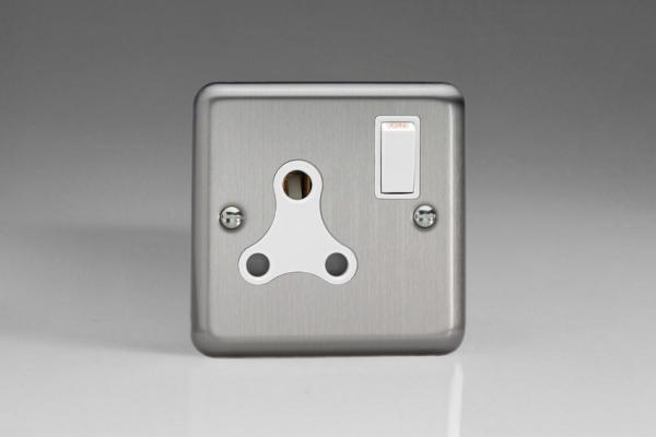 Varilight 1 Gang 15 Amp White Switched Round Pin Socket Classic Brushed Steel