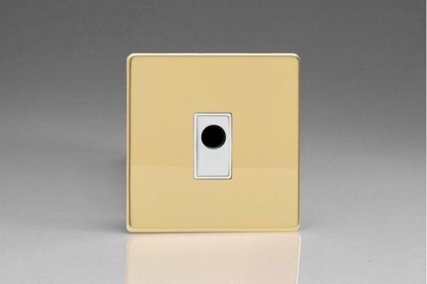 XDVFOWS-SP Varilight Flex Outlet Plate with Cable Clamp, White insert, Dimension Screwless Polished Brass Effect. (Bespoke & Special)