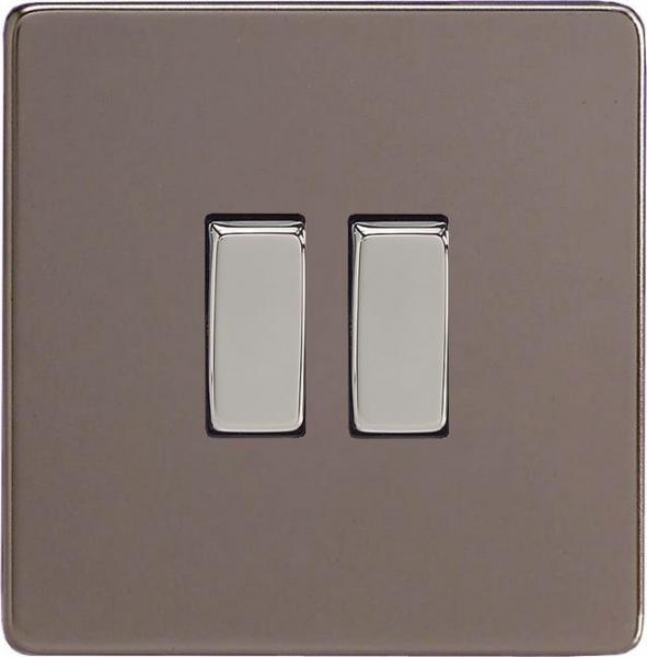 XER2S-SP Varilight European 2 Gang (Double), 1 or 2 Way 10 Amp Switch, Dimension Screwless Pewter (Bespoke & Special)