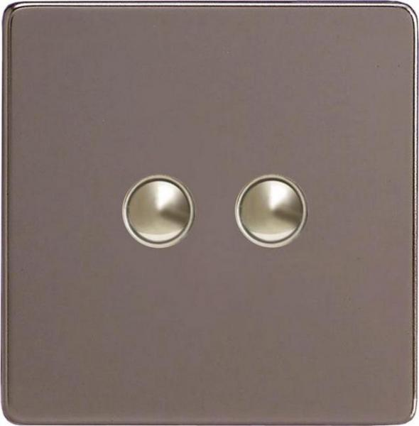 XERP2S-SP Varilight European 2 Gang (Double) 1 or 2 way 6 Amp Push-on Push-off Switch (impulse), Dimension Screwless Pewter (Bespoke & Special)