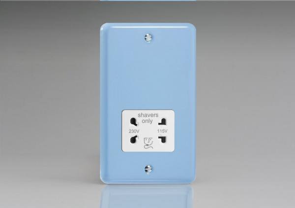 XYSSW.DB Varilight Dual Voltage Shaver Socket, Classic Lily Duck Egg Blue