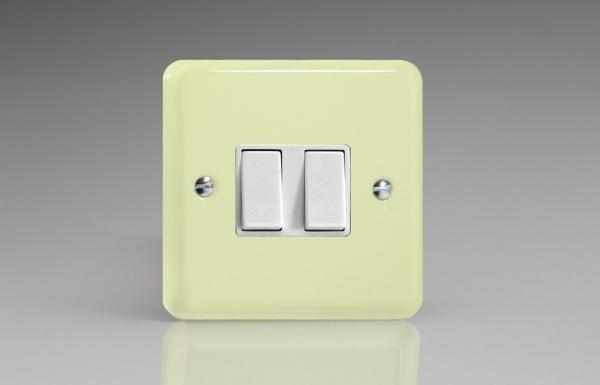 XY2W.WC Varilight 2 Gang (Double), 1 or 2 Way 10 Amp Switch, Classic Lily White Chocolate