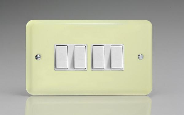 Varilight 4 Gang 10 Amp Switch Classic Lily White Chocolate