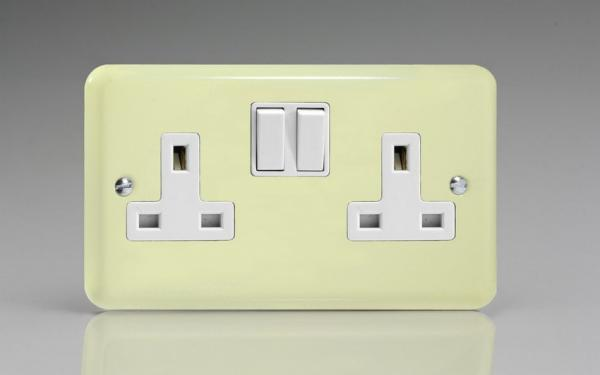 XY5W.WC Varilight 2 Gang (Double), 13 Amp Switched Socket, Classic Lily White Chocolate