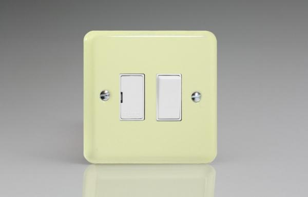 XY6W.WC Varilight 1 Gang (Single), 13 Amp Switched Fused Spur, Classic Lily White Chocolate