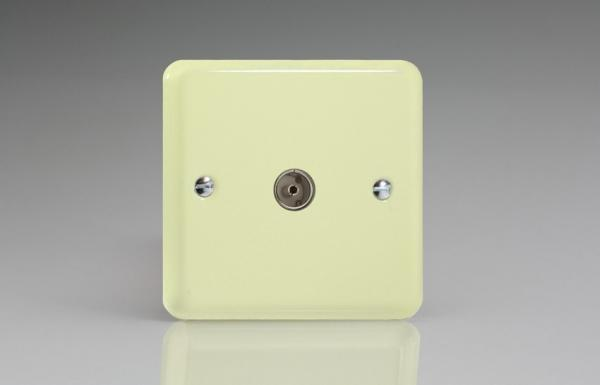 XY8.WC Varilight 1 Gang (Single), Co-axial TV Socket, Classic Lily White Chocolate