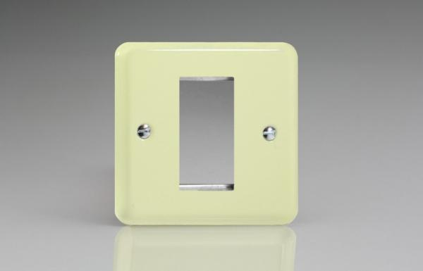 XYG1.WC Varilight Single Size Data Grid Face Plate For 1 Data Module Width, Classic Lily White Chocolate