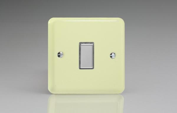 JYES001.WC Varilight V-Pro Series Eclique2  (Multi Point Remote), 1 Gang Tactile Touch Button Slave Unit for 2 way or Multi-way Circuits Only, Classic Lily White Chocolate