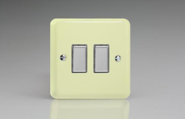 JYES002.WC Varilight V-Pro Series Eclique2, 2 Gang Tactile Touch Button Slave Unit for 2 way or Multi-way Circuits Only, Classic Lily White Chocolate