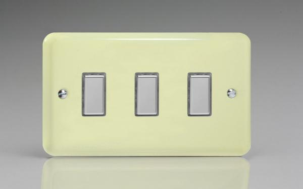 JYES003.WC Varilight V-Pro Series Eclique2  (Multi Point Remote), 3 Gang Tactile Touch Button Slave Unit for 2 way or Multi-way Circuits Only, Classic Lily White Chocolate