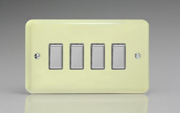 JYES004.WC Varilight V-Pro Series Eclique2  (Multi Point Remote), 4 Gang Tactile Touch Button Slave Unit for 2 way or Multi-way Circuits Only, Classic Lily White Chocolate