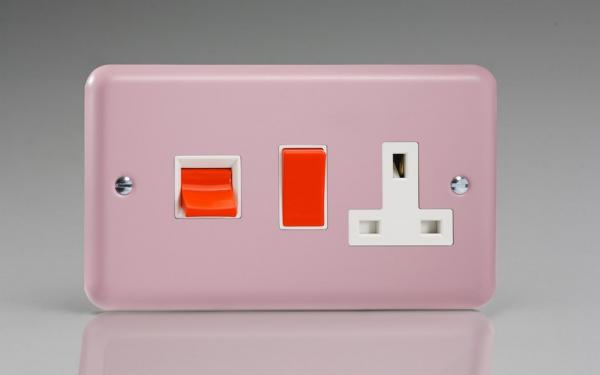 XY45PW.RP Varilight 45 Amp Cooker Panel with 13 Amp Switched Socket (Horizontal Double Size), Classic Lily Rose Pink