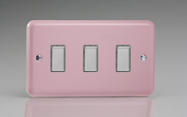 Varilight V-Pro Multi Point Tactile Touch Slave (MP Slave) Series 3 Gang Unit for use with V-Pro Multi Point Remote Master Dimmers Rose Pink