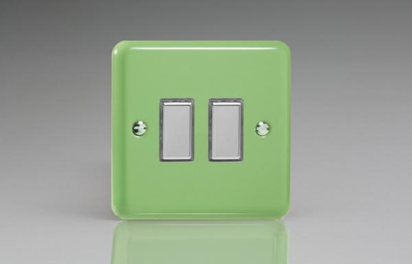 JYES002.BG - Varilight V-Pro Series Eclique2, 2 Gang Tactile Touch Button Slave Unit for 2 way or Multi-way Circuits Only, Classic Lily Beryl Green