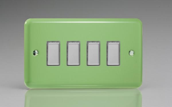 JYES004.BG - Varilight V-Pro Series Eclique2  (Multi Point Remote), 4 Gang Tactile Touch Button Slave Unit for 2 way or Multi-way Circuits Only, Classic Lily Beryl Green