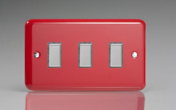 Varilight V-Pro Multi Point Tactile Touch Slave (MP Slave) Series 3 Gang Unit for use with V-Pro Multi Point Remote Master Dimmers Pillar Box Red