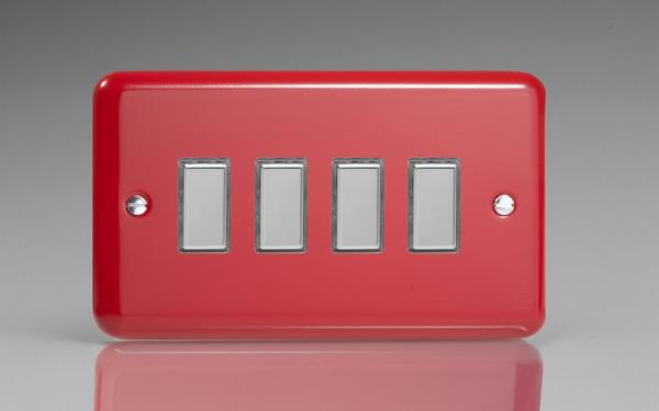 JYES004.PR - Varilight V-Pro Series Eclique2  (Multi Point Remote), 4 Gang Tactile Touch Button Slave Unit for 2 way or Multi-way Circuits Only, Classic Lily Pillar Box Red
