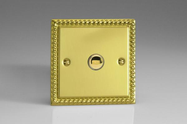 XGM1 Varilight 1 Gang (Single), 1 Way, 6 Amp  Retractive/Momentary Switch (Push To Make), Classic Georgian Polished Brass Effect