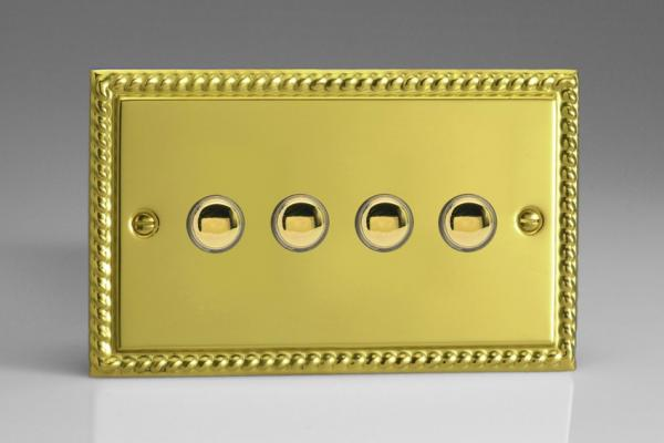 XGM4 Varilight 4 Gang (Quad), 1 Way, 6 Amp Impulse Retractive/Momentary Switch (Push To Make), Classic Georgian Polished Brass Effect