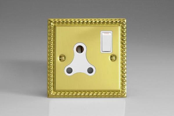 XGRP15AW Varilight 1 Gang (Single), 15 Amp Round Pin Socket, Classic Georgian Polished Brass Effect