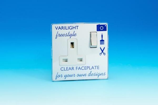 XIF4CW Varilight 1 Gang (Single), 13 Amp Switched Socket, Dimension Screwless Freestyle
