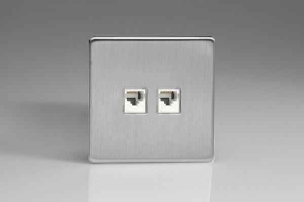 XESRJ45.45S Varilight European 2 Gang (Double), RJ456 (CAT6/5/5e) Socket, Dimension Screwless Brushed Steel