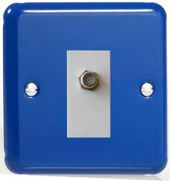 XYG8SW.RB Varilight 1 Gang (Single), Satellite TV Socket, Classic Lily Reflex Blue with White insert