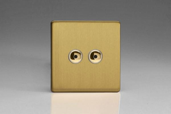 Varilight V-Pro IR Series 2 Gang 0-100 Watts Master Trailing Edge LED Dimmer Screwless Brushed Brass
