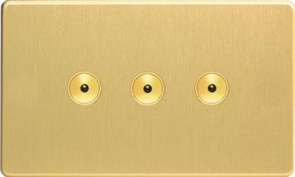IJDBI103S Varilight V-Pro IR, 3 Gang, 100 Watt IJ Remote Control/Touch Master LED Dimmer, Dimension Screwless Brushed Brass