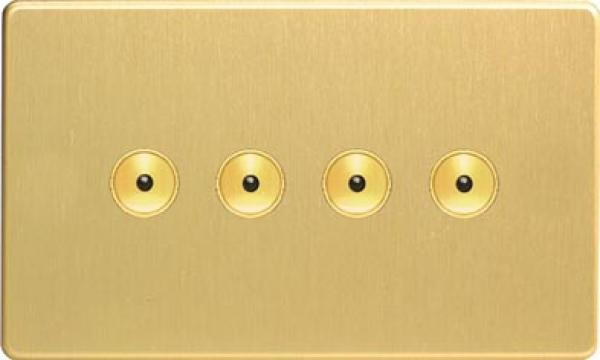 IJDBI104S Varilight V-Pro IR, 4 Gang, 100 Watt IJ Remote Control/Touch Master LED Dimmer, Dimension Screwless Brushed Brass