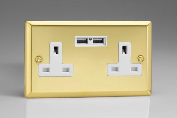 XV5U2W Varilight 2 Gang, 13 Amp Unswitched Socket with 2 Optimised USB Charging Ports, White Insert. Classic Victorian Polished Brass Effect
