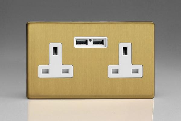 XDB5U2WS Varilight 2 Gang, 13 Amp Unswitched Socket with 2 Optimised USB Charging Ports, White Insert. Dimension Screwless Brushed Brass Effect