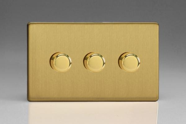 Z2WHDB23S  3 Gang Dimmer Plate Screwless Brushed Brass
