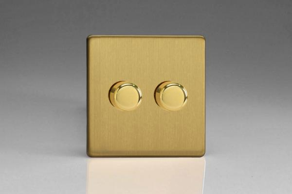 Z2WHDB2S  2 Gang Dimmer Plate Screwless Brushed Brass