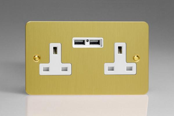 XFB5U2W Varilight 2 Gang, 13 Amp Unswitched Socket with 2 Optimised USB Charging Ports, White Insert. Ultra Flat Brushed Brass Effect