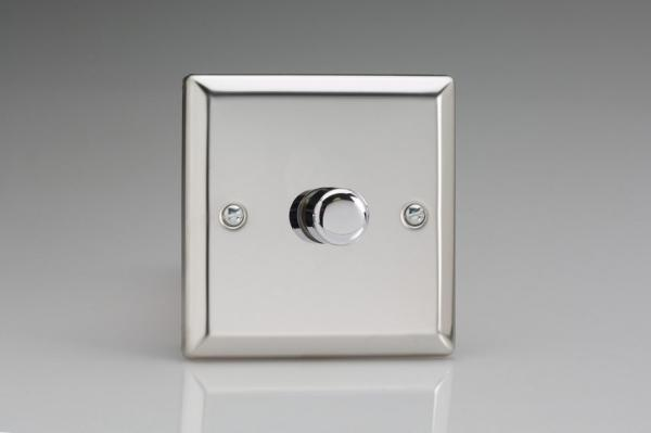 KCP221 Varilight V-Com Series 1 Gang, 1 or 2 Way 30-220 Watt Commercial LED Dimmer, Classic Polished Chrome