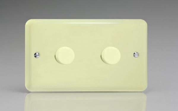 KYDP302.WC  Varilight V-Com Series 2 Gang, 1 or 2 Way 40-300 Watt Commercial LED Dimmer, Classic Lily White Chocolate