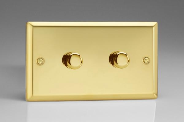Varilight V-Com Series 2 Gang 20-300 Watt Leading Edge LED Dimmer Victorian Brass