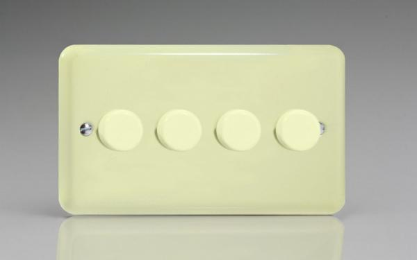 KYDP184.WC  Varilight V-Com Series 4 Gang, 1 or 2 Way 25-180 Watt Commercial LED Dimmer, Classic Lily White Chocolate