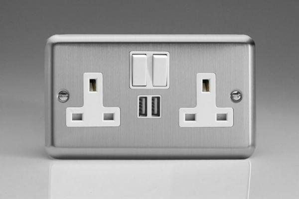 XS5U2SW Varilight 2 Gang 13A Single Pole Switched Socket + 2 x 5V DC 2100mA USB Charging Ports, White Insert & Switches. Classic Brushed Steel
