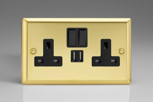 XV5U2SB Varilight 2 Gang 13A Single Pole Switched Socket + 2 x 5V DC 2100mA USB Charging Ports, Black Insert & Switches. Classic Victorian Polished Brass Effect