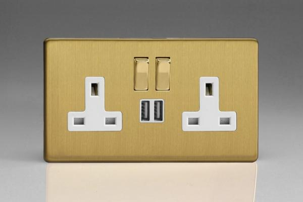 XDB5U2SWS Varilight 2 Gang 13A Single Pole Switched Socket + 2 x 5V DC 2100mA USB Charging Ports, White Insert & Polished Brass Switches. Dimension Screwless Brushed Brass Effect