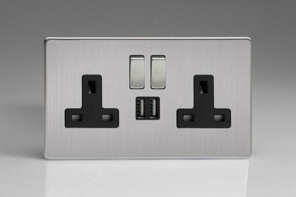 XDS5U2SBS Varilight 2 Gang 13A Single Pole Switched Socket + 2 x 5V DC 2100mA USB Charging Ports, Black Insert & Brushed Steel Switches. Dimension Screwless Brushed Steel
