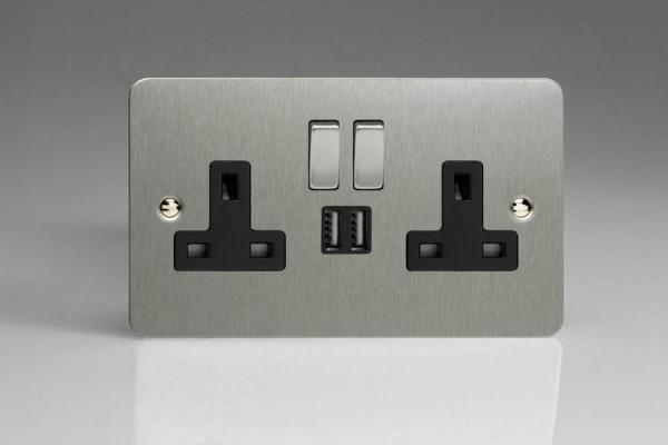 XFS5U2SDB Varilight 2 Gang 13A Single Pole Switched Socket + 2 x 5V DC 2100mA USB Charging Ports, Black Insert & Brushed Steel Switches. Ultra Flat Brushed Steel Effect