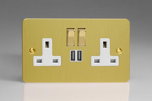 XFB5U2SDW Varilight 2 Gang 13A Single Pole Switched Socket + 2 x 5V DC 2100mA USB Charging Ports, White Insert & Polished Brass Switches. Ultra Flat Brushed Brass Effect