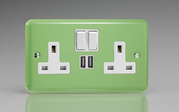 XY5U2SW.BG Varilight 2 Gang 13A Single Pole Switched Socket + 2 x 5V DC 2100mA USB Charging Ports, White Insert & Switches. Classic Lily Beryl Green