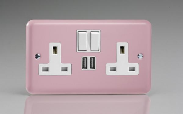 XY5U2SW.RP Varilight 2 Gang 13A Single Pole Switched Socket + 2 x 5V DC 2100mA USB Charging Ports, White Insert & Switches. Classic Lily Rose Pink