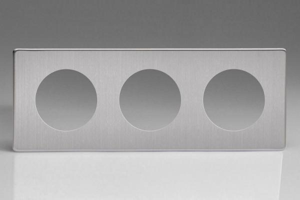 XESG3S-P Varilight European VariGrid Triple faceplate with a 3 hole cut-out,  Dimension Screwless Brushed Steel