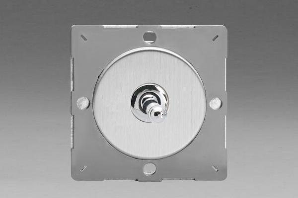 Z1EGT1S-P Varilight European VariGrid 1 gang 1 or 2 Way 10A Toggle Polished Chrome Switch, for use with VariGrid Single, Double and Triple Faceplates