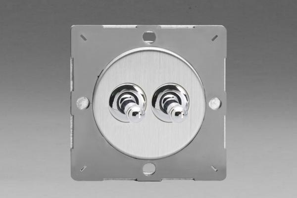 Varilight European Brushed Steel VariGrid 2 Gang 1 or 2 Way 10A Toggle Switch